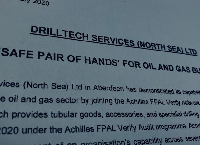 Achilles FPAL: Drilltech Services (North Sea) Ltd, a 'Safe Pair of Hands' for Oil and Gas Buyers.